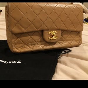 Chanel Small Classic Flap handbag beige gold